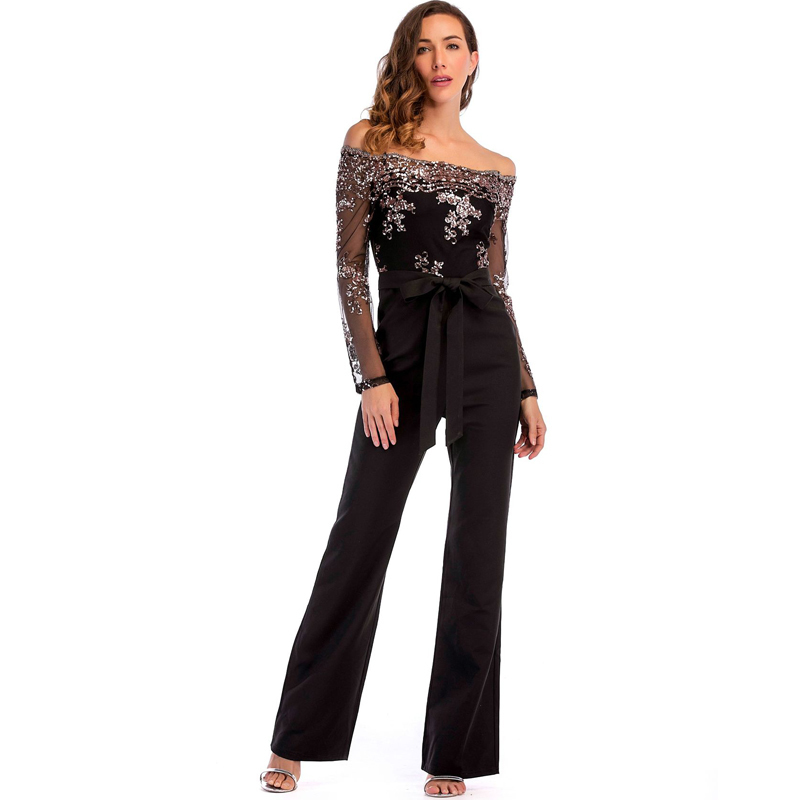 877566927921 Fashion Long Sleeve Strapless Sexy Jumpsuit Women Clubwear Black Sequin Jumpsuit  Womens Rompers Bodysuit Skinny Jumpsuit Female