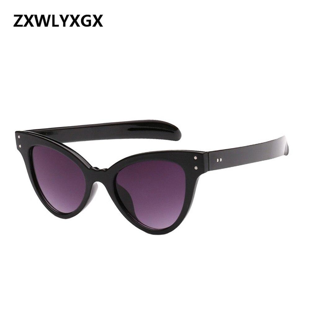 2018 Europe and the United States new stylish nailed cateye sunglasses trend women's sunglasses UV protection sunglasses  UV400