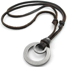 Jewelry Men's Ladies Necklace, Alloy Pendant with Leather, Brown