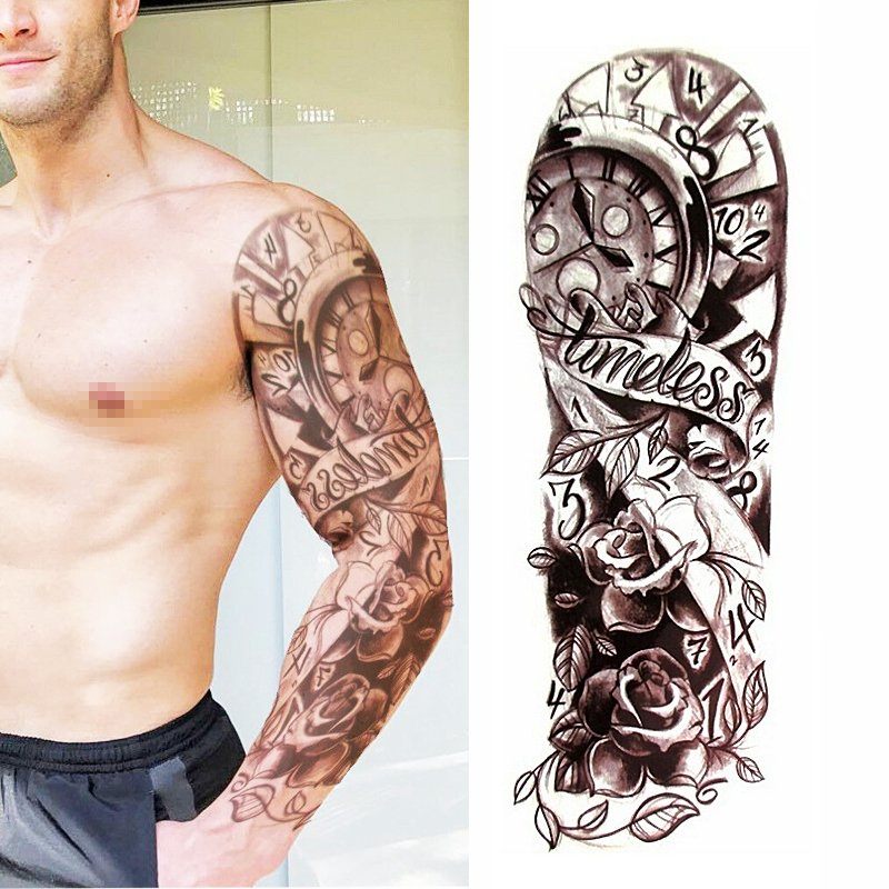 Full Flower Arm Temporary Tattoo Sticker Rose Clock Body Art Water Transfer Fake Tatoo Sleeve For Men Women