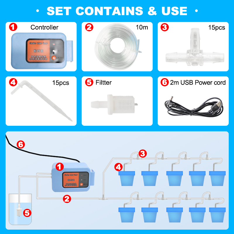 2019 Wifi Automatic watering device garden watering system Intelligent timer water Drip irrigation Mobile phone remote control in Watering Kits from Home Garden