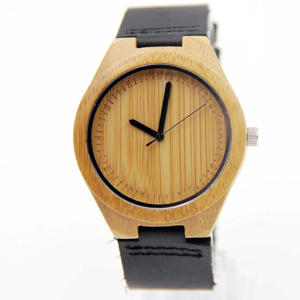 100 Natural Bamboo Wooden Watch with Genuine Brown Leather Strap Japanese Quartz Movement Casual Watches