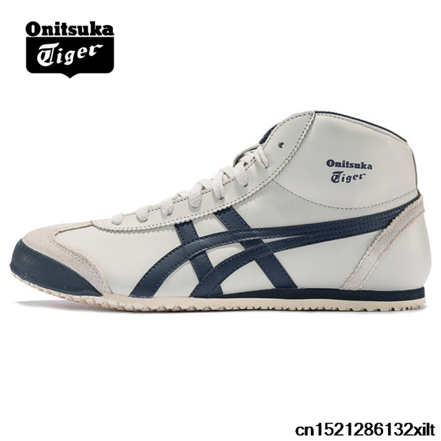 24ab5282f3d4 Original ONITSUKA TIGER MEXICO 66 Men Women Shoes Beige dark blue Unisex  leather rubber high Sneakers Badminton shoesTHL328-1659