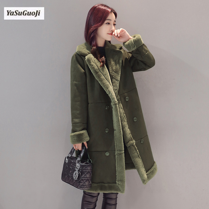 New 2017 fashion army green thickened double breasted winter coat women chaqueta mujer turn-down fleece collar long jacket MF15 kn 33 women s winter wear stylish thickened warm hooded down jacket coat army green l