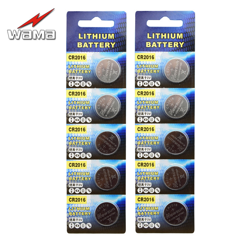 10x Wama CR2016 Button Cell Battery 3V Lithium CR2016 ECR2016 KCR2016 BR2016 LM2016 3V Calculator Watch Toy Coin Batteries