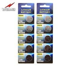 Батарейка Wama CR2016 10x, 3 в, литиевая батарейка CR2016, KCR2016, BR2016, LM2016, 3 в, калькулятор, часы, игрушки, монеты