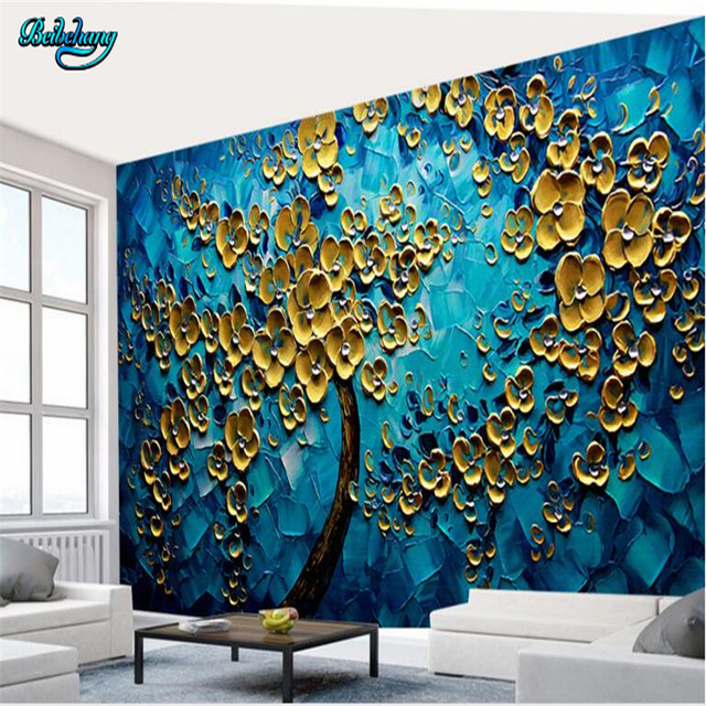 beibehang blau kreativit t gold gl ck baum kunst hintergrund wand kundenspezifische dekoration. Black Bedroom Furniture Sets. Home Design Ideas