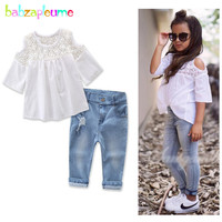 Babzapleume Spring Summer Baby Girls Outfits T Shirt Denim Jeans Korean Kids Clothes For Children Clothing