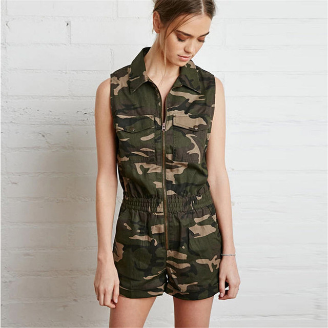 55d358050 Military Style Camouflage Playsuit For Women Casual Fashion Female  Sleeveless Rompers Piece Shorts Combinaison Femme A1352