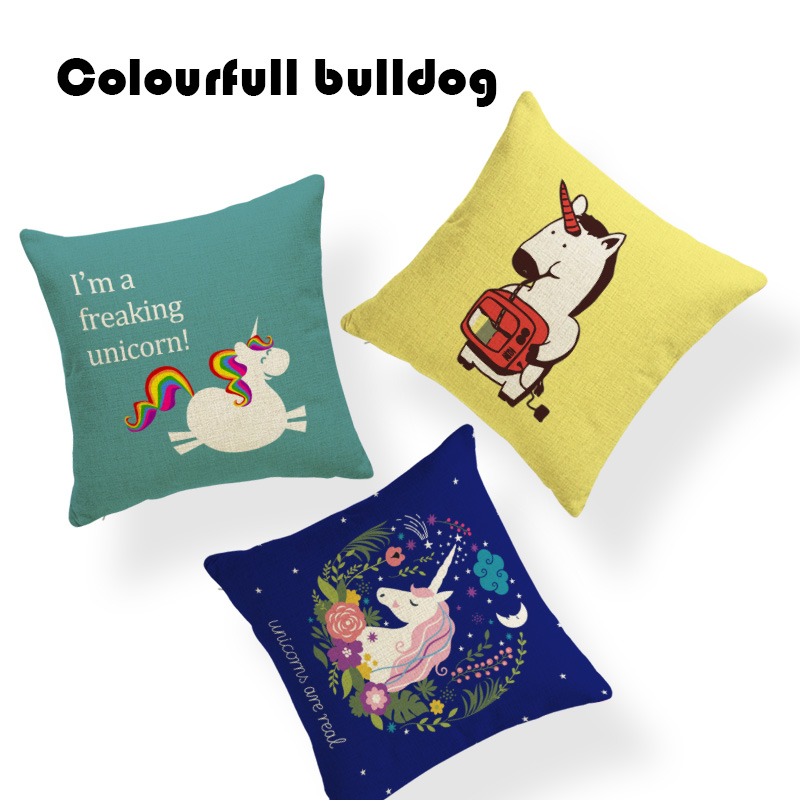 Sublimation Material Scandinavian Unicorns Are Real Lotus Leaf Cushion Cover Fairy Travesseiro Gamer Chair Linen Nap Almofada