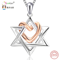 Strollgirl 925 Sterling Silver Star of David with Rose Gold Color Love Heart Pendants & Necklaces For Women Fashion Jewelry Gift