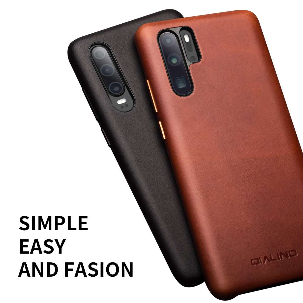 Image 3 - QIALINO Fashion Genuine Leather Ultra Slim Phone Case for Huawei P30 Pro 6.47 inch Luxury Handmade Back Cover for Huawei P30-in Half-wrapped Cases from Cellphones & Telecommunications