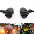 4X Metal Bullet Black Amber Bulb Motorcycle Turn Signal Light For Harley Bobber Chopper Custom Honda Yamaha Kawasaki Suzuki BMW