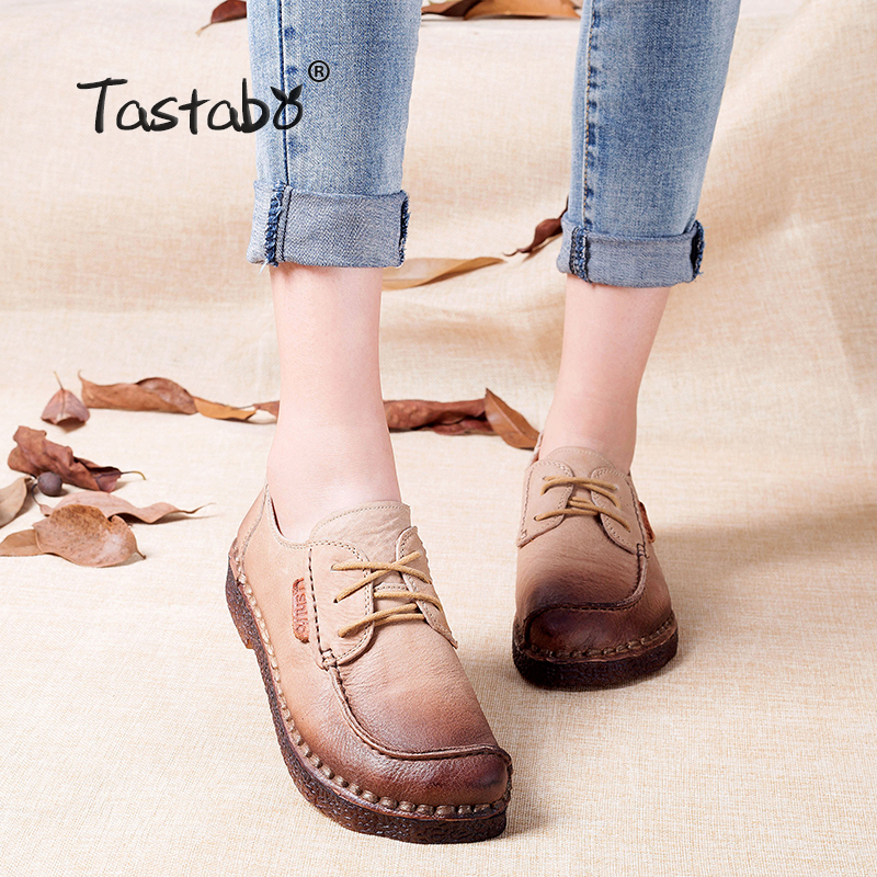 Tastabo Autumn Moccasins For Women Genuine Leather Shoes Flats Footwear Casual lace round toe Retro Shoes