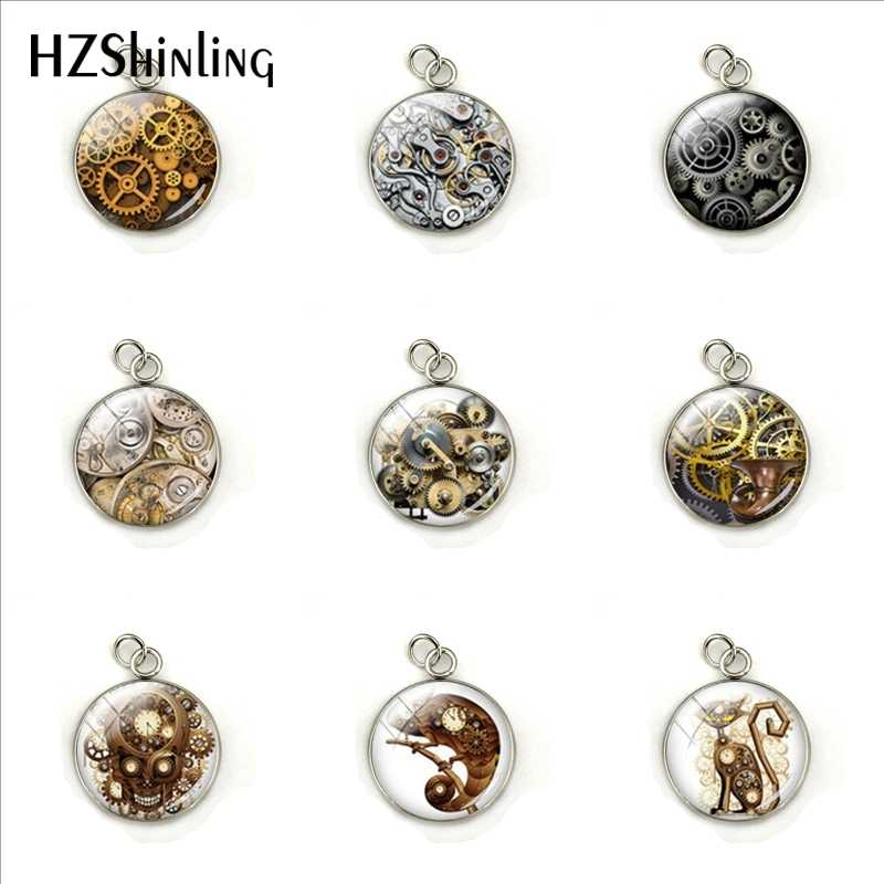 Vintage Steampunk Gearwheels Patterns Fashion Charms Glass Cabochon Hand Craft Stainless Steel Pendants Jewelry Accessories