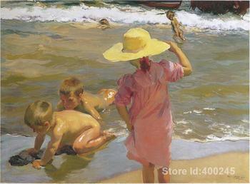 Landscape beach Children on the seashore Joaquin Sorolla y Bastida oil painting on canvas Handmade High quality