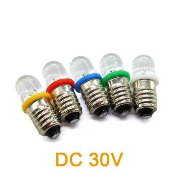 DC 30V E10 Screw LED Lighting Beads Indicator Bulb Flashlight Small Lamp White Yellow Red Green Blue Color 10pcs/lot 5050 ceramic led 5 8w xml t6 glare flashlight lamp beads white green blue red yellow purple