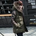 2016 Coreano de Slim Curto Real Natural Raccoon Fur Collar Com Capuz Casacos de Inverno Dos Homens Cashmere Algodão Parkas Manga PU Patchwork Costela