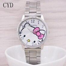 New Arrive Lovely Hello Kitty Watch Children Girl Women Dress Fashion Crystal Quartz Wristwatch Female Watch relogio feminino