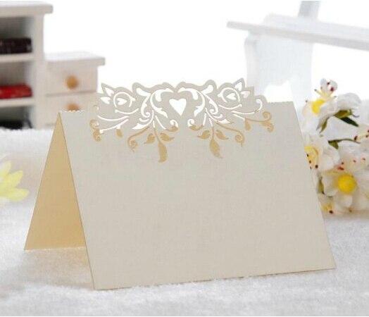 100 шт./лот лазерная резка Цветочное сердце Форма Бумага место карточный стол карты имя гостя держатель партия брак праздник украшение wc413