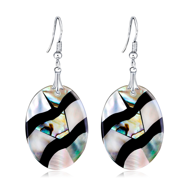 1pair Round Heart Square Water Drop Shape Earrings Colorful Natural Abalone Shell Dangle Earrings For Women Jewelry Gift