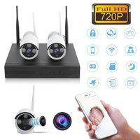 2pcs Wireless 4 Channel NVR Kit Wireless CCTV Security System 2pcs WIFI IP Cameras Outdoor Indoor Home Surveillance Cam