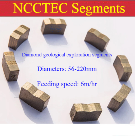 56-220mm Diamond Segments For Sintered PDC Geological Core Drill Bits For Well Oilfield Coalfield Gas Field Exploration Statrum