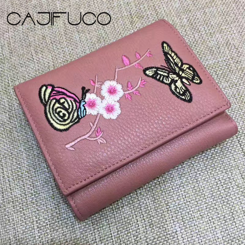 CAJIFUCO Fall/Winter Genuine Leather Three Folded Short Wallet Floral Butterflies Embroidery Style Card Wallet With Coin Pocket
