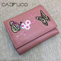 c4f8fad7b 2017 Fall And Winter Genuine Leather Three Folded Short Wallet Floral  Butterfiles Embroidery Style Card Wallet