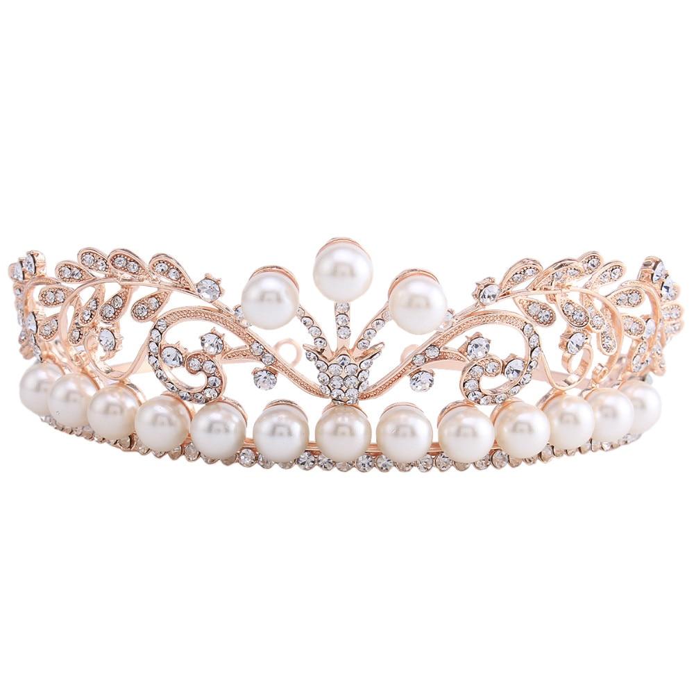 Princess Bridal Wedding Prom Headband Large Crystal Rhinestone Pearl Tiara Crown