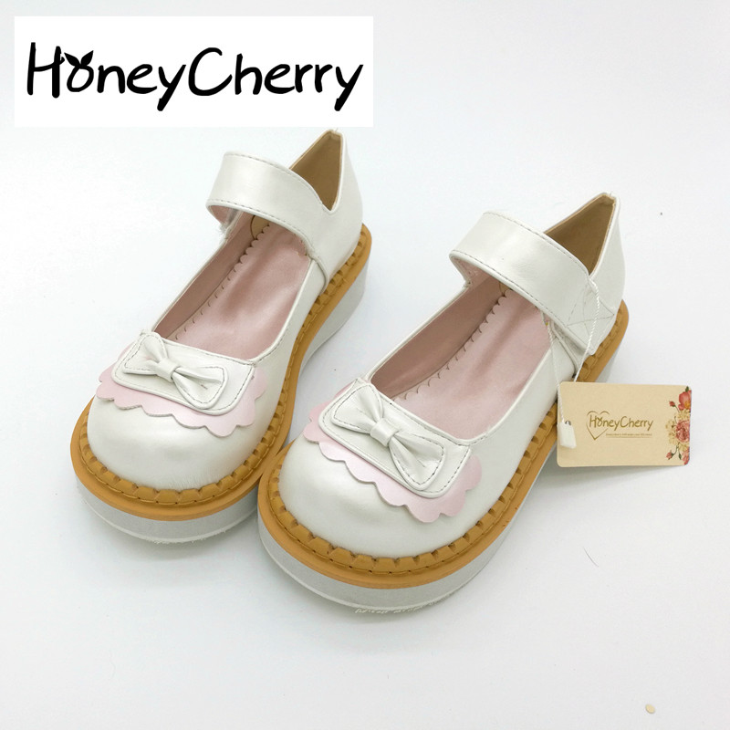 Japanese New Muffin Bottom Doll Shoes Color Bow Shoes With A Shallow Mouth Shoe Soft Sister Shoes Daily Wind lolita shoes new wig cosplay smoke gray long straight wigs lolita daily harajuku wind japanese soft sister wig free shipping cap no headwear