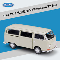 Welly 1:24 Diecast Model Toy Car Metal Volkswagen Van Retro Print T2 Bus Alloy 1972 VW Bus Excellent For Boy Toys Kid Gift PUBG