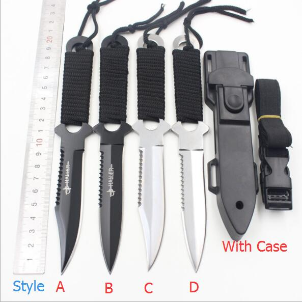 Haller Leggings/Paratroopers Steel Diving Straight knife Outdoor Survival Camping Tactical Fixed blade Knife with case SH8
