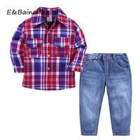Autumn Children Clothing Sets Kids Boys Clothes Autumn Gentleman Suits Plaid Long Sleeve Shirt + Jeans Pant Kids Boy Clothing