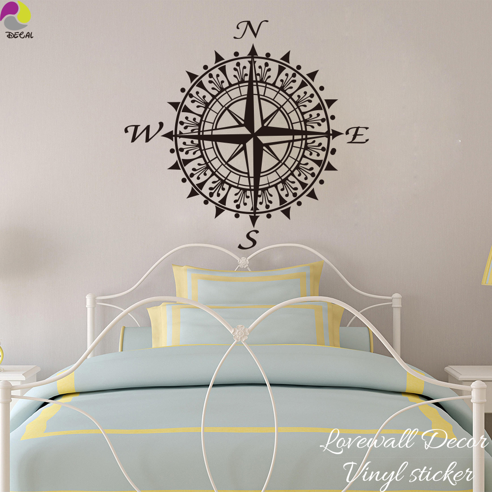 Large Size Compass Wall Sticker Bedroom Baby Nursery Nautical steering wheel Wall Decal Living Room Vinyl Home Decor Art Mural ...
