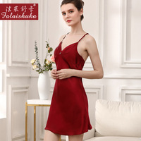 100% mulberry silk women nightdress sleepwear summer sexy spaghetti strap silk elegant silky sleepshirts women nightgowns