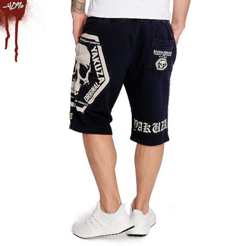2019 Casual Skull Summer Men's Shorts Sexy Gyms Sweatpants Male Fitness Bodybuilding Workout Man  Jogger Short