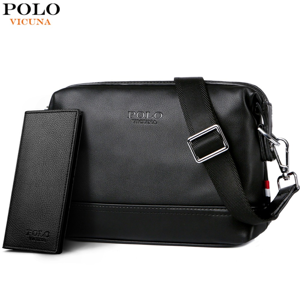 100% quality quarantee select for latest hot sales VICUNA POLO Solid Men Simple Design Crossbody Bag Man Travel Leather Black  Shoulder Bags Brand Small Messenger Bag For Male