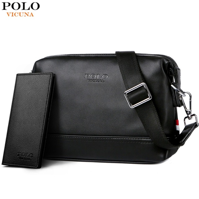 VICUNA POLO Solid Men Simple Design Crossbody Bag Man Travel Leather Black Shoulder  Bags Brand Small Messenger Bag For Male 1a2f421e83288