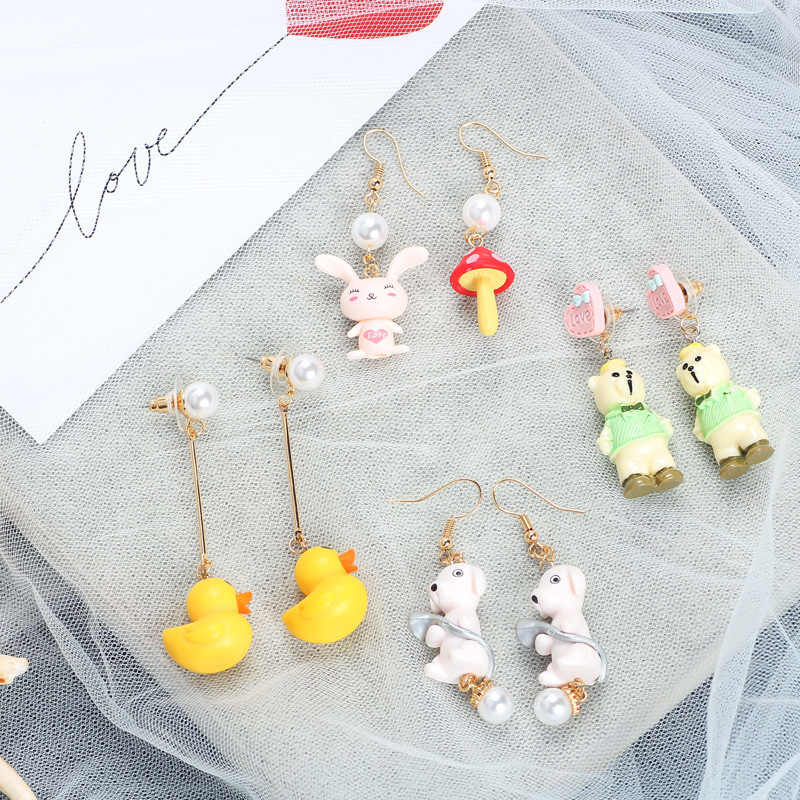 MINGQI Fashion Animal Little Yellow Duck Bear Rabbit Trend Girl Mushroom Asymmetric Long Pendant Earrings Woman Earrings Jewelry