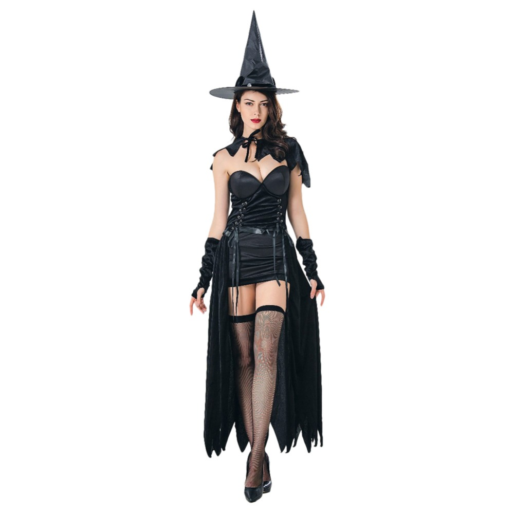 NEW Halloween Witch Costume Cosplay Adult Women Party Clothes Fancy Dress+Hat