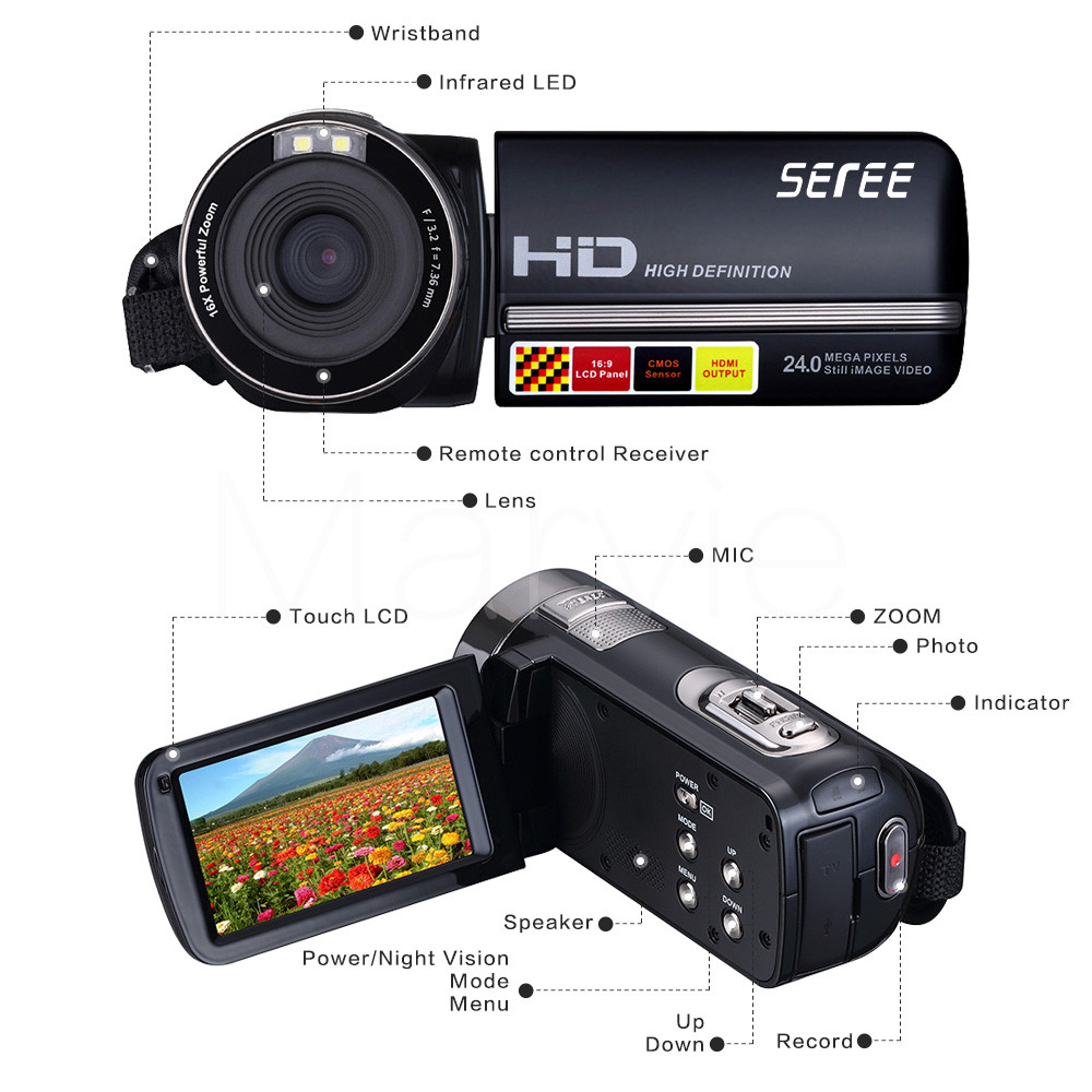 Marvie HDV-301 FHD 1080P Digital Video Camera Camcorder Night Vision Wide Angle Macro Fisheye Shooting 24MP 3 Inch Screen 5