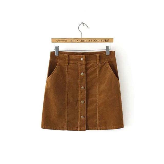 40b102f47 € 21.02 |Nueva moda Otoño Invierno Mujer Faldas una sola línea A de pana  faldas cortas de algodón elástico paquete cadera en Faldas de La ropa ...