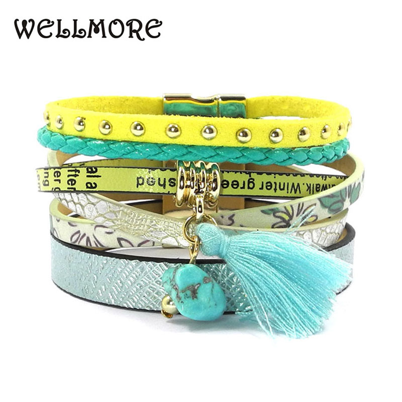 wellmore summer leather bracelet 5 color women charm bracelets Bohemian bracelets & bangles wholesale jewelry for women B16001