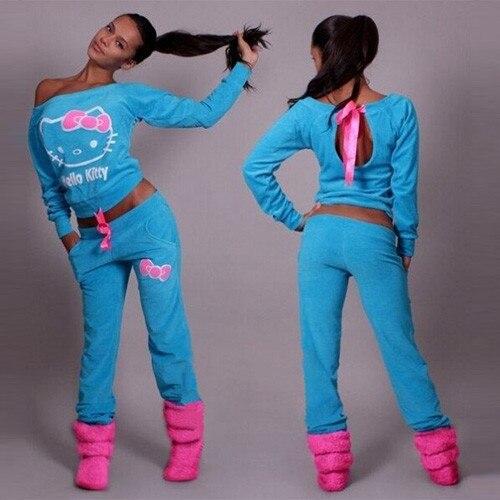 2017 Nieuwe Print vrouwen Trainingspakken O-hals Set Suits voor vrouwen hoodies sweatshirt voor vrouwen lange broek dame vrouwelijke 10 Hello Kitty