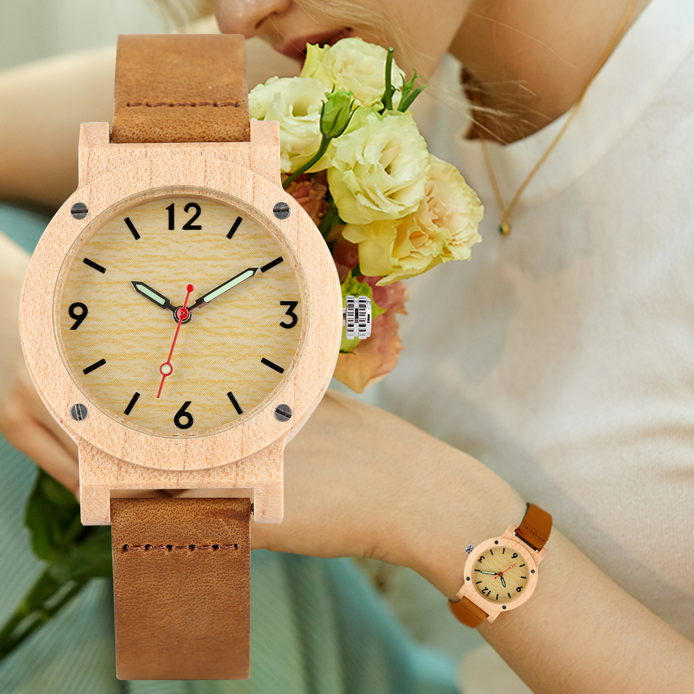 Women's Quartz Wooden Watch Leather Strap Wristwatch for Girl Luminous Wooden Watches for Ladies(China)