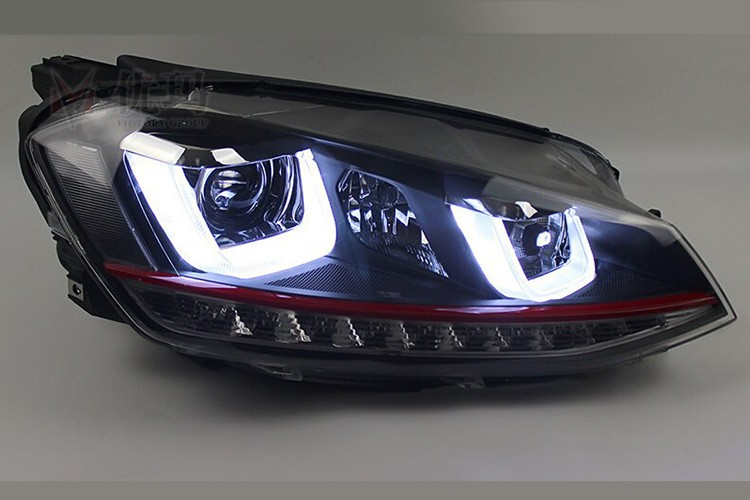 HIDLED AUTO Double U LED Angel Eyes Bi-xenon Headlights For Golf 7 GTI light on