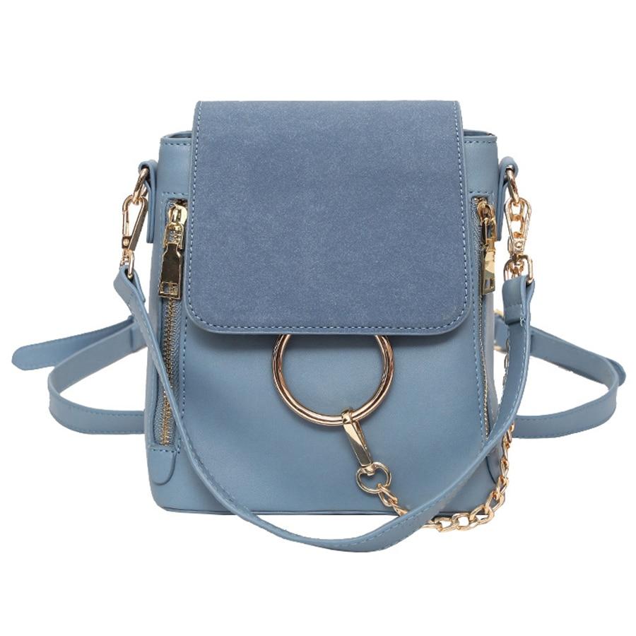 Luxury Chains Backpacks New Women Pu Leather Mini Backpack Ladies Designer Small School Bag Brand Travel Bag Faye Bolsa Feminina
