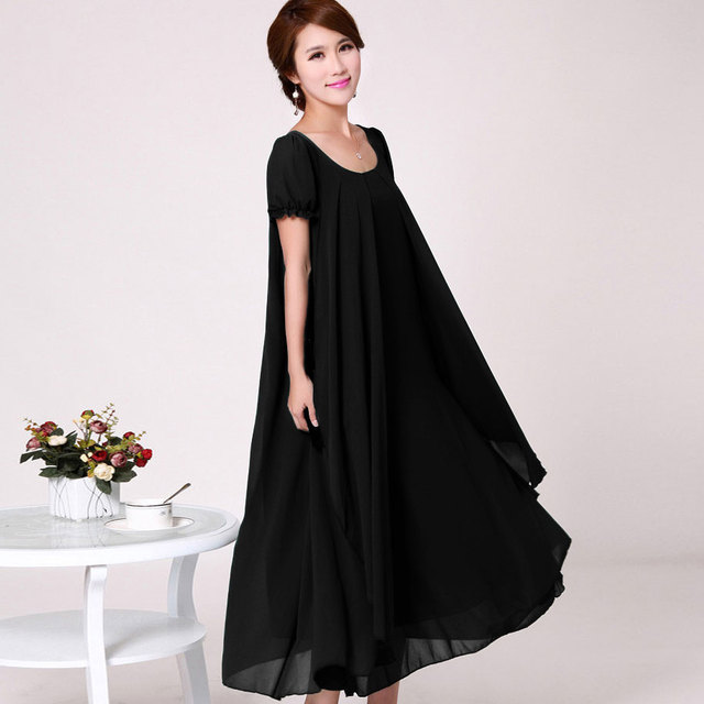 Plus size M-4XL Summer Dress 2017 New Women's Chiffon Dress Loose Slimmer Flouncing Full Dress Free shipping