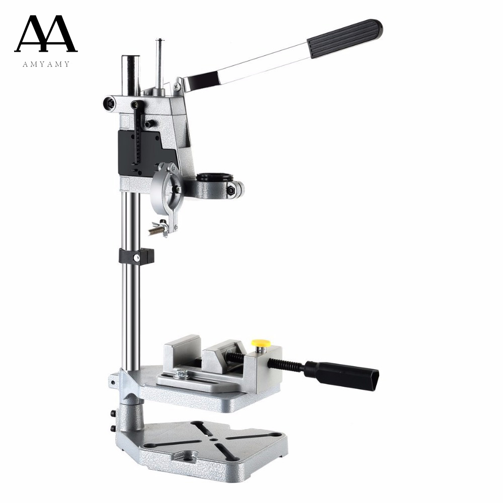 amyamy new electric drill bench drill press stand with drill press vise drill stand rotary tool. Black Bedroom Furniture Sets. Home Design Ideas